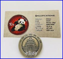 2020 Chinese Panda Colour & Antique Finish 1oz. 999 Silver Coin Box & Coa