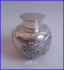 207 Gr. Antique Chinese Export Silver Tea Caddy Box Signed Dragon