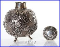 275 Gr. Antique Chinese Export Silver Tea Caddy Box Signed Luenwo Shanghai