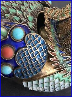 280g Antique Chinese Silver Enamel Turquoise Coral Gems Filigree Duck Figure Box
