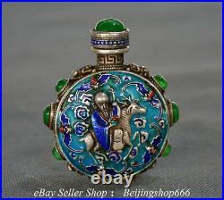 3.2 Old Chinese Silver Inlay Jade God of longevity Deer Snuff bottle Snuff box