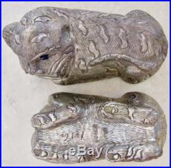 3.45 Antique Chinese. 900 Silver TIGER Box with Blue Sapphire Eyes (101.4 grams)