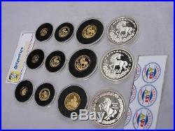 3 Rare China Chinese Unicorn Gold & Silver Proof Sets'94 &'96 w. Boxes COA