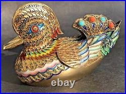 300g Antique Chinese Silver Gold Filigree Duck Figure Coral Turquoise Enamel Box