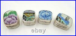 4 Vintage Chinese Cultural Revolution Silver Porcelain Shard Trinket Pill Boxes