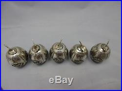 5 antique chinese export silver boxes / apples / dragons