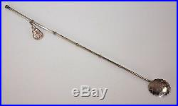 6-Sterling Silver Ice Tea Spoon Straw Set Japanese Chinese Bamboo withCharms withBox