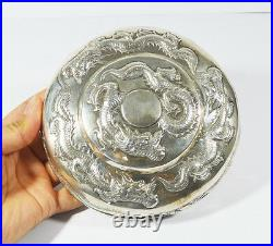 605 GR 15 cm ANTIQUE CHINESE EXPORT SILVER BOX CANTON QING DYNASTY CHINA DRAGON