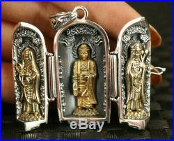 925 silver carved buddha kwan-yin statue figure box pendant netsuke