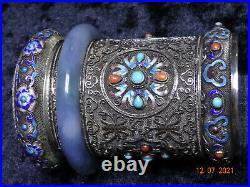 A Chinese Gilt & Silver Filagree cylinderical box enamel & semi precious stones