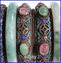 A Chinese Silver Box Inlay Tourmaline Jadeite Decorated Two Jadeite Bangles