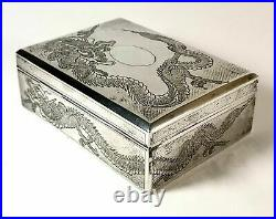 A Chinese export silver cigarette box