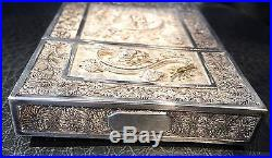A Fine & Important 19th c. Chinese Export Filigree Silver Card Case w Dragons