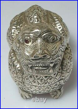 A Lovely Qing Dynasty Chinese Silver Box In The Form Of A Guardian Lion
