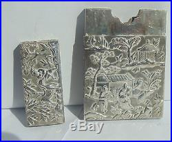 A Superb Solid Silver Chinese Card Case with Multiple Figures&Scenes makerKHC