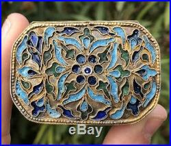 ANTIQUE 18th-19th CENTURY CHINESE SILVER & MULTI COLOR ENAMEL FLORAL SNUFF BOX