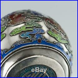 ANTIQUE 19thC CHINESE EXPORT SOLID SILVER & ENAMEL POT WITH COVER c. 1880