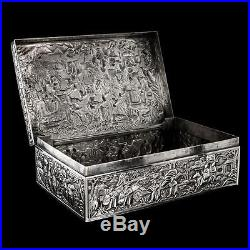 ANTIQUE 19thC CHINESE EXPORT SOLID SILVER LARGE BATTLE SCENE BOX, DA XING c. 1880