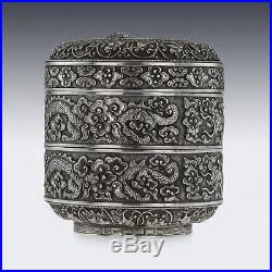 ANTIQUE 19thC RARE CHINESE SOLID SILVER DOUBLE BOX, H. T, HANOI c. 1890