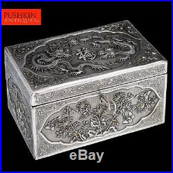 ANTIQUE 20thC CHINESE EXPORT SOLID SILVER LARGE DRAGON BOX c. 1900