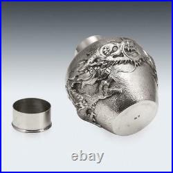 ANTIQUE 20thC CHINESE SOLID SILVER DRAGON TEA CADDY, HOUCHEONG, CANTON c. 1880