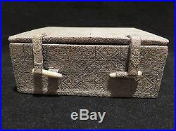 Antique Asian Chinese Silver Box With White Jade Celadon Butterfly Pendant