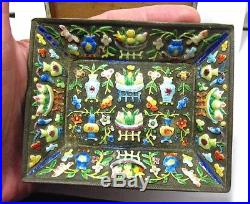 ANTIQUE CHINESE 800 SILVER ENAMEL REPOUSSE BOX With TRAY INCENSE BOX TRAY