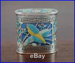 Antique Chinese Export Qing Silver & Enamel 2 Part Box, Signed, 39.6 Gms