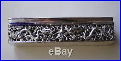 Antique Chinese Export Silver Box Reticulated By Kms Kwong Man Shing 180 Grams