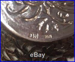 ANTIQUE CHINESE EXPORT SILVER CHRYSANTHEMUM BON-BON/PIN DISH, SIGNED, 62.1g