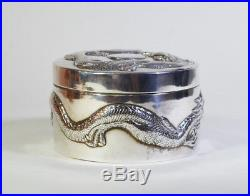 ANTIQUE CHINESE EXPORT STERLING SILVER TRINKET BOX DRAGON by WANG HING