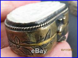 ANTIQUE CHINESE QING Jade Silver ENAMEL Pill OPIUM SNUFF 3 Boxes
