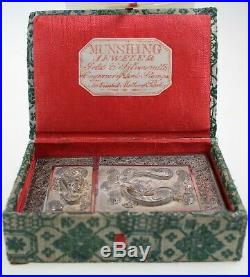 ANTIQUE CHINESE SILVER CARD CASE circa 1880 ORIGINAL BOX