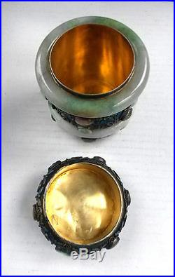Antique Chinese Silver Enamel Jade Gemstone Tea Caddy Box