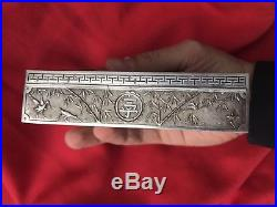 ANTIQUE CHINESE SOLID STERLING EXPORT SILVER BOX EMBOSSED CHINA CALLIGRAPHY 125g