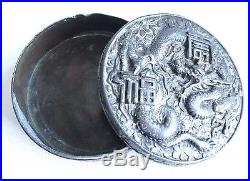ANTIQUE CHINESE TEA BOX SILVER/PEWTER CARVED DRAGON 3.5 in WIDE
