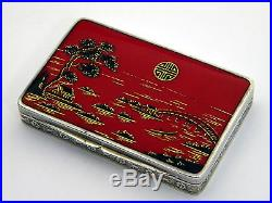 ANTIQUE CONTINENTAL SILVER & ENAMEL BOX c. 1915 (CHINESE / ORIENTAL STYLE)