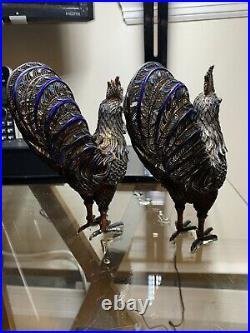 ANTIQUE LARGE CHINESE EXPORT SILVER ENAMEL Pheasant 900 Grade