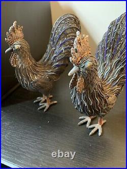 ANTIQUE LARGE CHINESE EXPORT SILVER ENAMEL Pheasant Hi Grade 900 silver