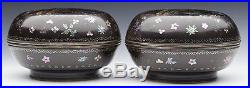 Antique Pair Chinese Silver Mounted Mother Of Pearl & Lacquer Boxes 17/18th C