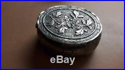 ANTIQUE old Century signed CHINESE EXPORT SMALL Silver FLOWER BOX