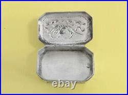 ARGENT MASSIF CHINE BOITE A PILULES CHINESE EXPORT SILVER BOX DRAGON 26g