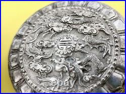 ARGENT MASSIF CHINE BOITE DRAGON CHINESE EXPORT SILVER BOX WITH DRAGON 57g