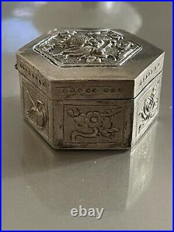 Ancienne Boite Argent Massif Repoussé Chine Dragon Antic Chinese Silver Box