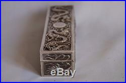Ancienne Boite Dragon Argent Massif Chine Antique Silver Box Chinese Export 19th