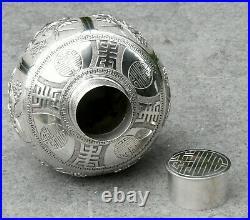 Antike Teedose Silber China Vintage Chinese silver tea caddy box foral