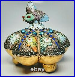 Antique 1920s Chinese Silver and Enamel Fish Trinket Box