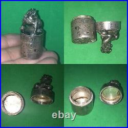 Antique 19th C Chinese Solid Silver Calligraphy Seal Pill Box With Lion Foo Dog