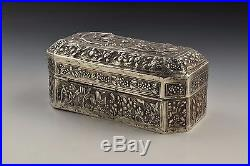 Antique 19th Century Chinese Silver Box with Characters & Dragons