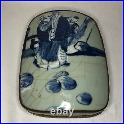 Antique 19th Century Chinese Silver Box with Porcelain Shard Elderly Couple 854g